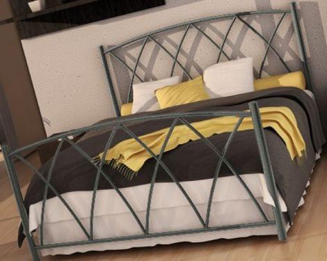 Κρεβάτι μεταλλικό 2, ασημί σφυρήλατο