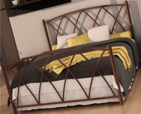 Κρεβάτι μεταλλικό 2, καφε σφυρήλατο