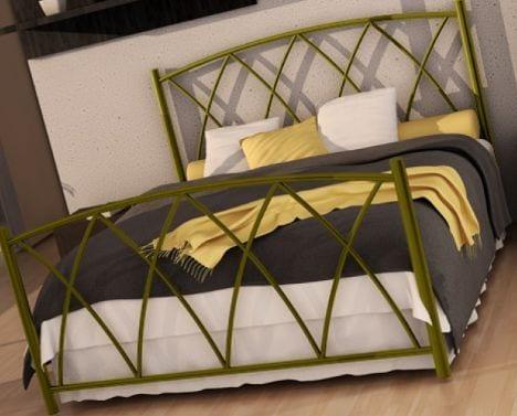 Κρεβάτι μεταλλικό 2, χρυσό σφυρήλατο